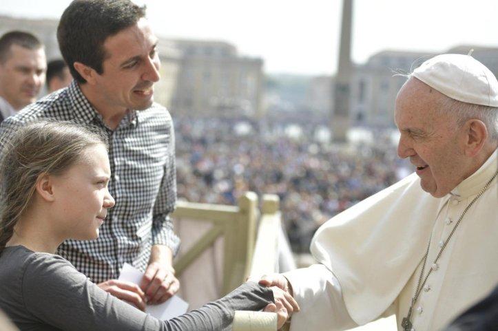 thunberg bij paus